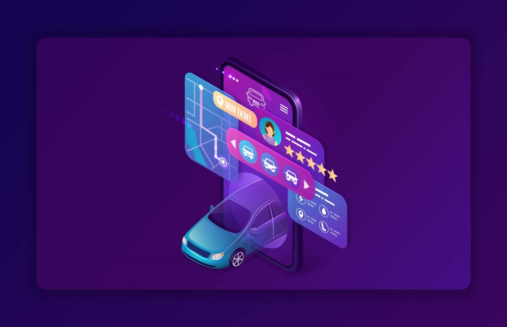 A digital illustration of a car coming out of a social feed
